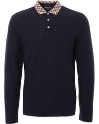 Aquascutum - Coniston Long Sleeve Polo Shirt - Navy - Lyst