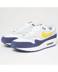 Nike - Air Max 1 - White, Blue Recall, Pure Platinum & Tour Yellow - Lyst