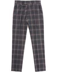 Gibson London - Tartan Check Trousers - Charcoal - Lyst