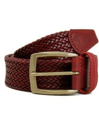 Andersons - Anderson's Thin Dark Red Leather Belt - Lyst