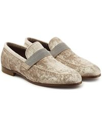 Brunello Cucinelli - Velvet Loafers With Embellishment - Lyst
