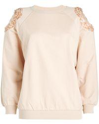 Nina Ricci - Cold-shoulder Cotton Sweatshirt With Sequins - Lyst