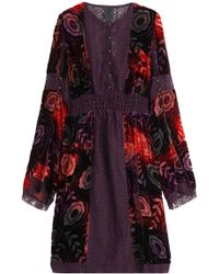 Anna Sui - Velvet Dress With Lace Trims - Lyst