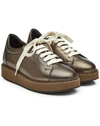 Brunello Cucinelli - Leather Trainers With Platform - Lyst
