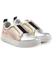 Pierre Hardy - Metallic Leather Slip-on Trainers - Lyst