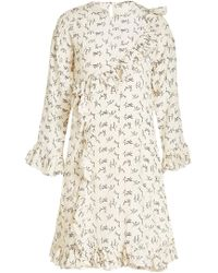 Mes Demoiselles - Printed Silk Dress With Ruffles - Lyst