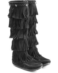 Minnetonka - Fringed Suede Knee Boots With Studs - Lyst