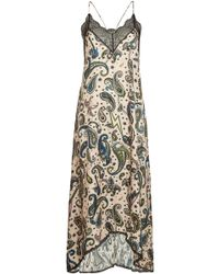 Zadig & Voltaire - Risty Printed Slip Dress With Lace - Lyst