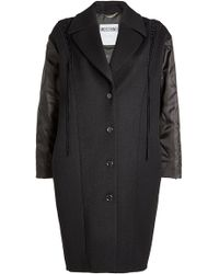 Moschino - Wool Twill Coat With Fabric Sleeves - Lyst