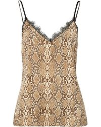 Anine Bing - Snakeskin Printed Silk Camisole With Lace - Lyst