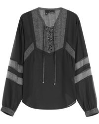 The Kooples - Blouse With Sheer Panels - Lyst