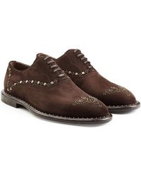 Dolce & Gabbana - Embellished Suede Lace-ups - Lyst