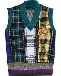 Versace - Gemusterter Pullunder aus Wolle mit Stickerei - Lyst