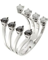Delfina Delettrez - 18kt White Gold Ring With White And Black Diamonds - Lyst