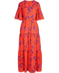 258b96c1a03 Boutique Moschino Floral Print Silk Maxi Dress in Black - Lyst