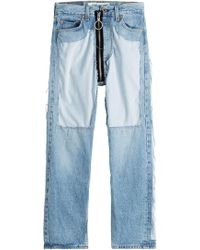 Off-White c/o Virgil Abloh - Distressed High-waist Jeans With Zipper - Lyst