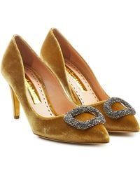 Rupert Sanderson - Vllig Velvet Pumps With Embellishment - Lyst