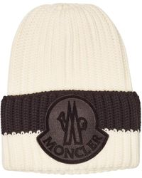 101396a772e Lyst - Moncler Wool Ribbed Knit Beanie Hat in Natural for Men