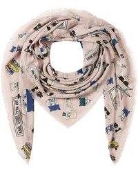 Karl Lagerfeld - Nyc Printed Scarf With Silk - Lyst