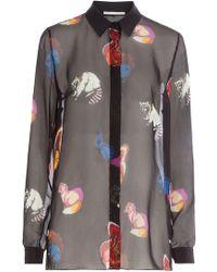 Marco De Vincenzo - Printed Silk Chiffon Blouse - Lyst