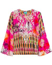 Taj - Embellished Tie-dye Silk Top - Lyst