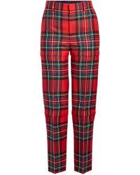 Balenciaga - Pantalon droit tartan en laine vierge - Lyst
