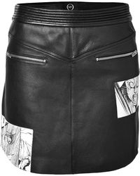McQ - Leather Mini-skirt With Manga Print - Lyst
