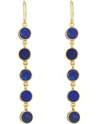 Pippa Small - Gold Plated Silver Earrings With Lapis Stones - Blue - Lyst