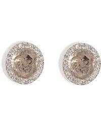 Susan Foster - 14k White Gold Diamond Slice Studs With Micro Pave Diamonds - Lyst