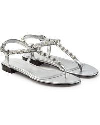 Balenciaga - Stud Embellished Metallic Leather Sandals - Lyst