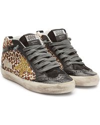 1f703bc58cdf Lyst - Golden Goose Deluxe Brand Leather And Suede Mid Star Sneakers ...