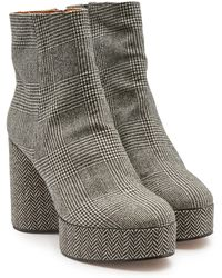 Robert Clergerie - Belent Houndstooth Platform Ankle Boots - Lyst