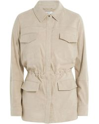 Vince | Leather Jacket With Drawstring Waist | Lyst