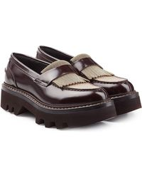 Brunello Cucinelli - Leather Loafer With Embellishment - Lyst