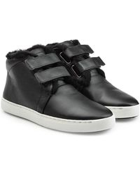 Rag & Bone - Leather Trainers With Fur - Lyst