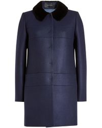 Tara Jarmon - Coat With Wool, Cashmere And Faux Fur Collar - Lyst
