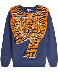 130bec250 KENZO - Embroidered Cotton Sweatshirt - Lyst
