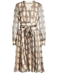 DHELA - Printed Silk Dress With Metallic Thread - Lyst