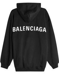 Balenciaga - Logo Back Cotton Hoody - Lyst