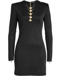 Balmain - Mini Dress With Zipped Cuffs - Lyst