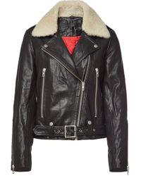 Rag & Bone - Mackenzie Leather Jacket With Cotton - Lyst