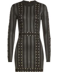 Balmain - Mini Dress With Lace-up Detail - Lyst