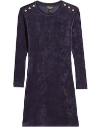 Juicy Couture - Velour Dress With Embossed Buttons - Lyst