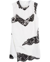 DKNY - Silk Top With Lace Inserts - Lyst