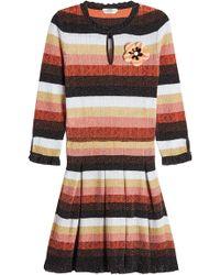 Fendi - Metallic Dress With Wool And Fur - Lyst