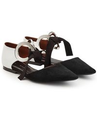 Proenza Schouler - Ribbon Tie Flats With Suede And Leather - Lyst