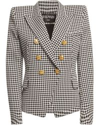 Balmain - Houndstooth Cotton Blazer With Embossed Buttons - Lyst