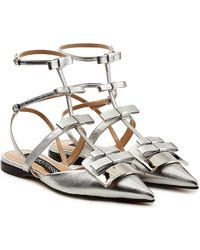 Sergio Rossi - Embellished Leather Ballerinas - Lyst