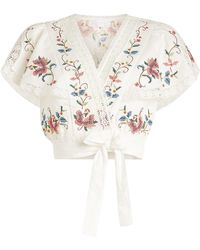 Zimmermann - Laelia Embroidered Linen-cotton Cropped Top - Lyst