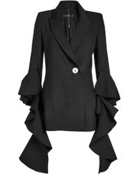 Ellery - Forsaken Frill Sleeve Jacket With Wool - Lyst